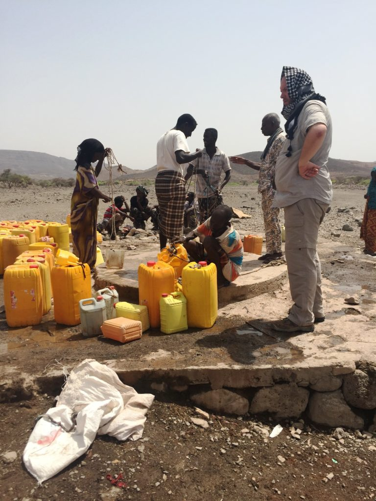 Water being drawn from a well in the Obock region of Djibouti